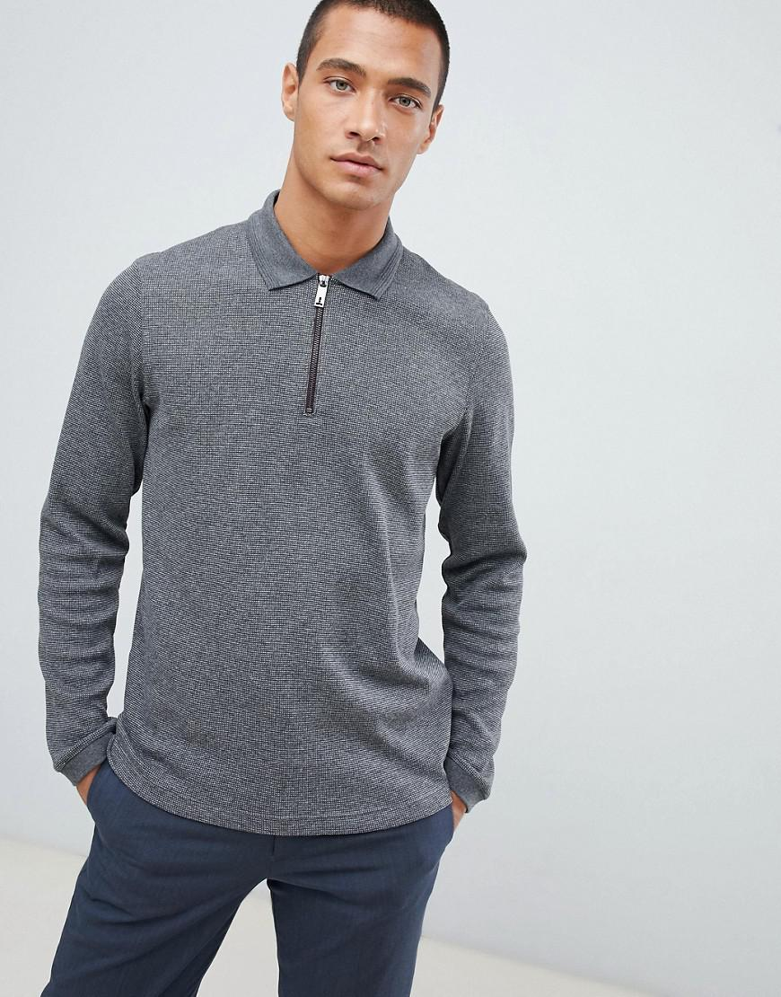 f966f8d981ea21 Lyst - Ted Baker Knitted Polo Shirt In Grey Waffle in Gray for Men