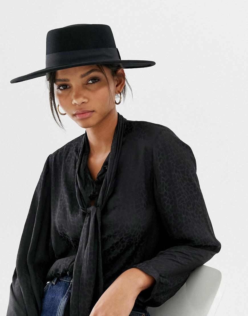 f66cdc72ee1a3 Lyst - ASOS Felt Matador Boater Hat With Size Adjuster in Black