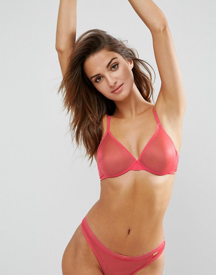 a31d68b966 Lyst - Gossard Glossies Sheer Bra in Pink