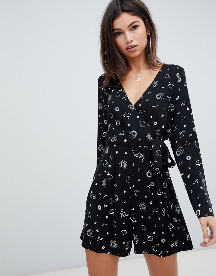3c42ba79c4a Lyst - ASOS Astrology Print Tea Playsuit in Black