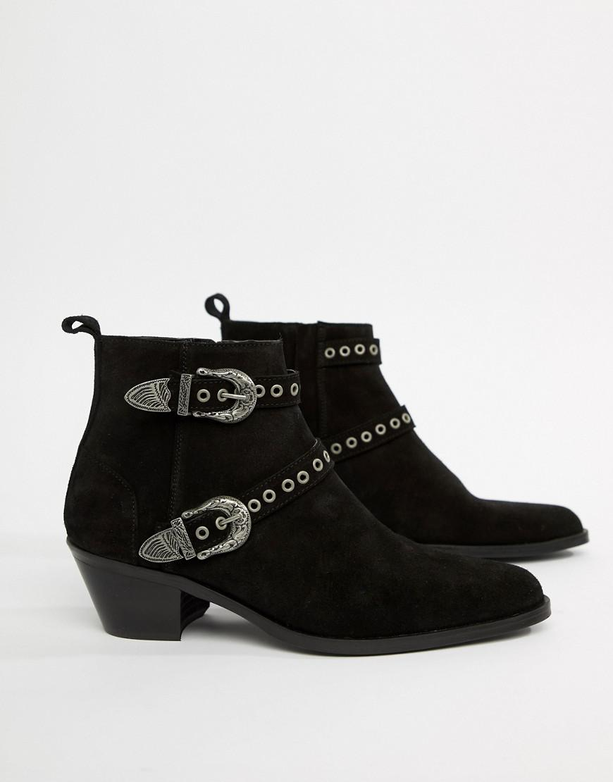 fd325c0b01c ASOS Wide Fit Stacked Heel Boots In Black Suede With Silver Western ...