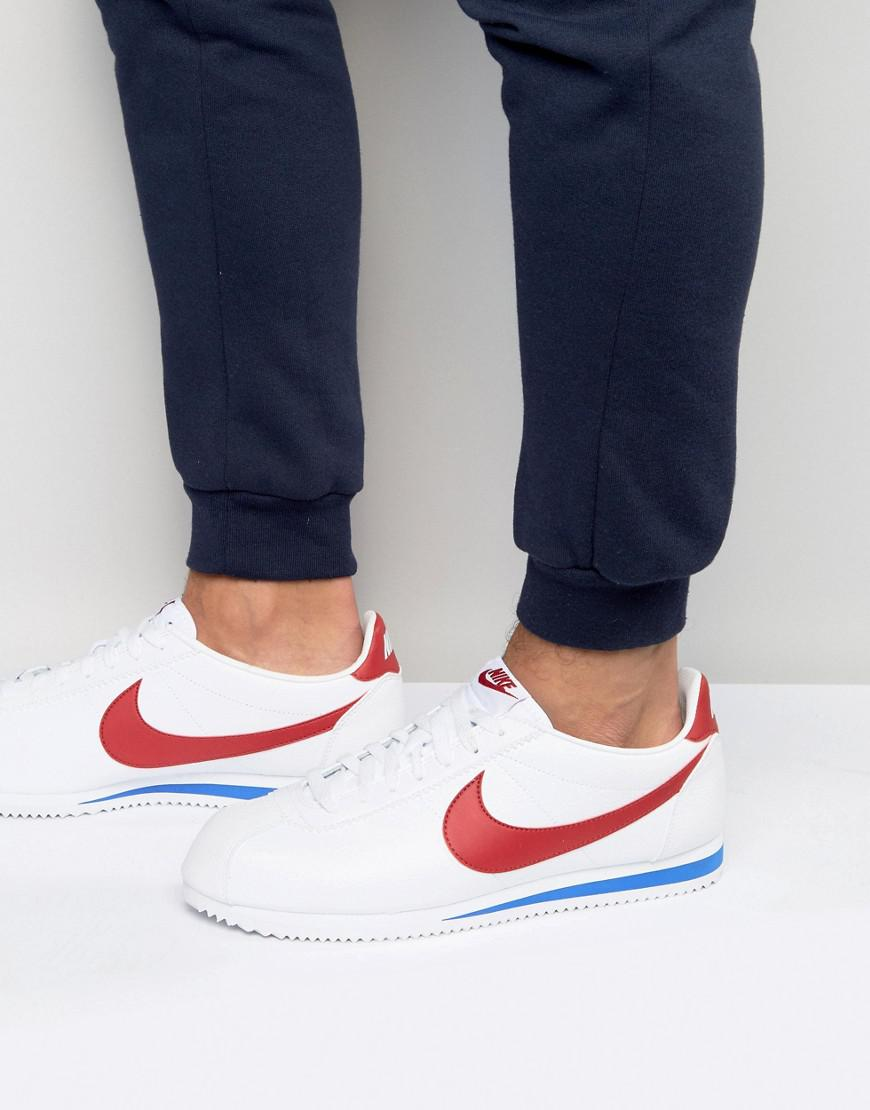 f2263d05e2953 Nike Cortez Leather Trainers In White 749571-154 in White for Men - Lyst