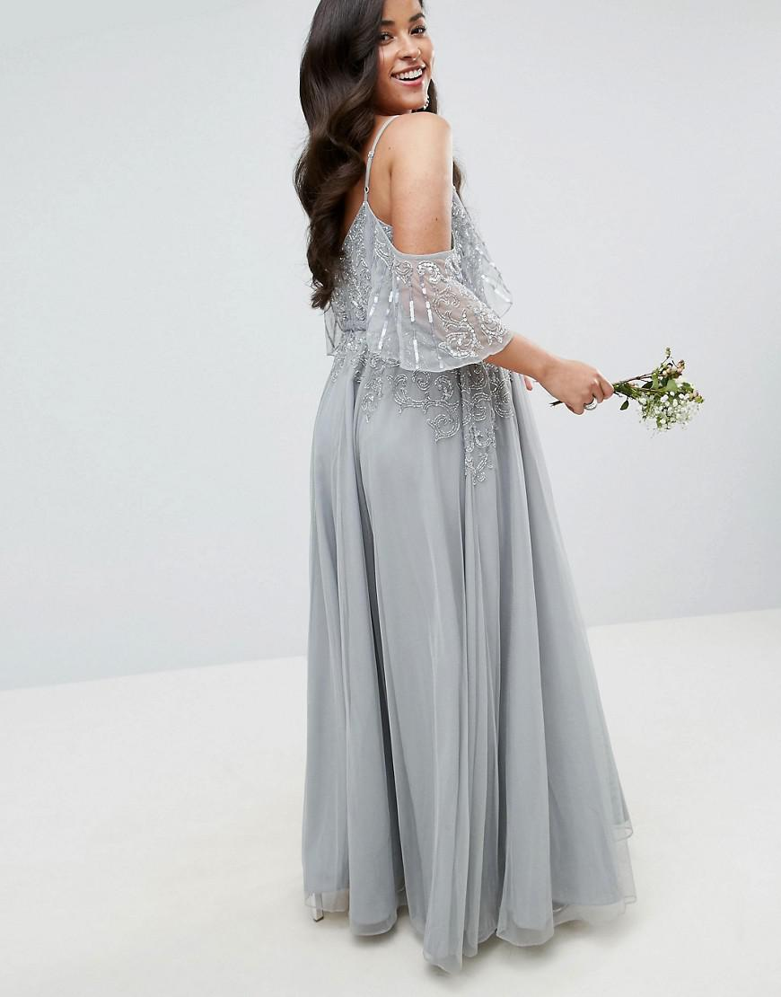 191f716e687 Lyst - ASOS Wedding Embellished Lace Insert Flutter Sleeve Maxi ...