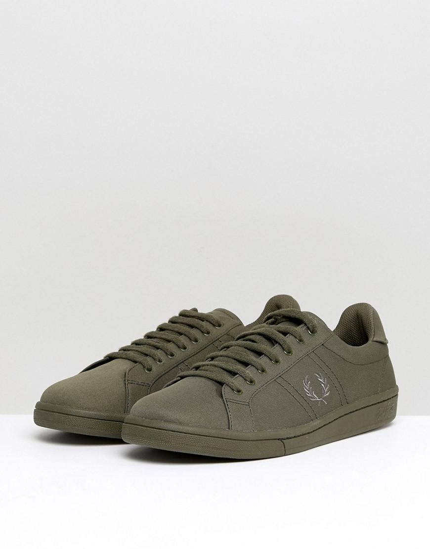 Fred Perry Microfibre Suedette Sneakers in Khaki oAMX14Q2w