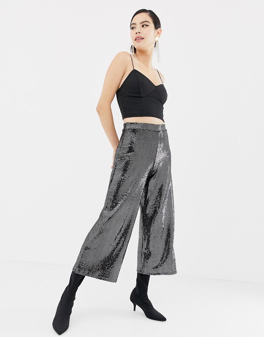 e74d044c67a178 Miss Selfridge. Women s Metallic Wide Leg Cropped Trousers In Gunmetal  Sequin