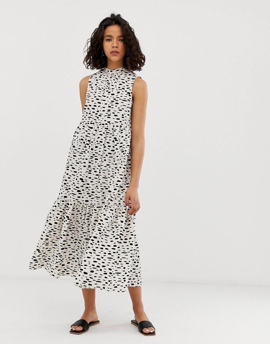 bc82f126ea2c ASOS. Women s Sleeveless Tiered Cotton Midi Dress In Splodge Print
