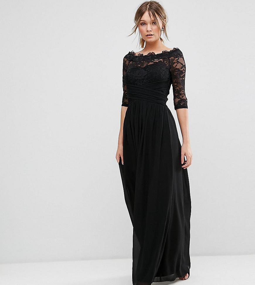 d85c36bfd58 Little Mistress Lace Bardot Chiffon Maxi Dress in Black - Lyst