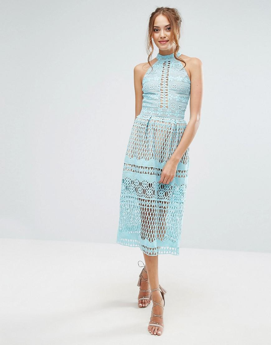 Lyst - Jarlo High Neck Allover Cutwork Lace Prom Skater Midi Dress ...