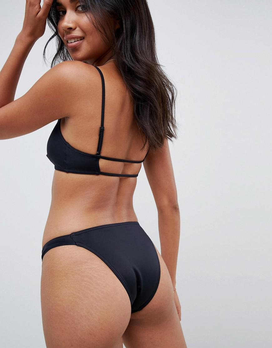 b5d73f455b909 Lyst - ASOS Recycled Mix And Match Strappy Back Crop Bikini Top in Black