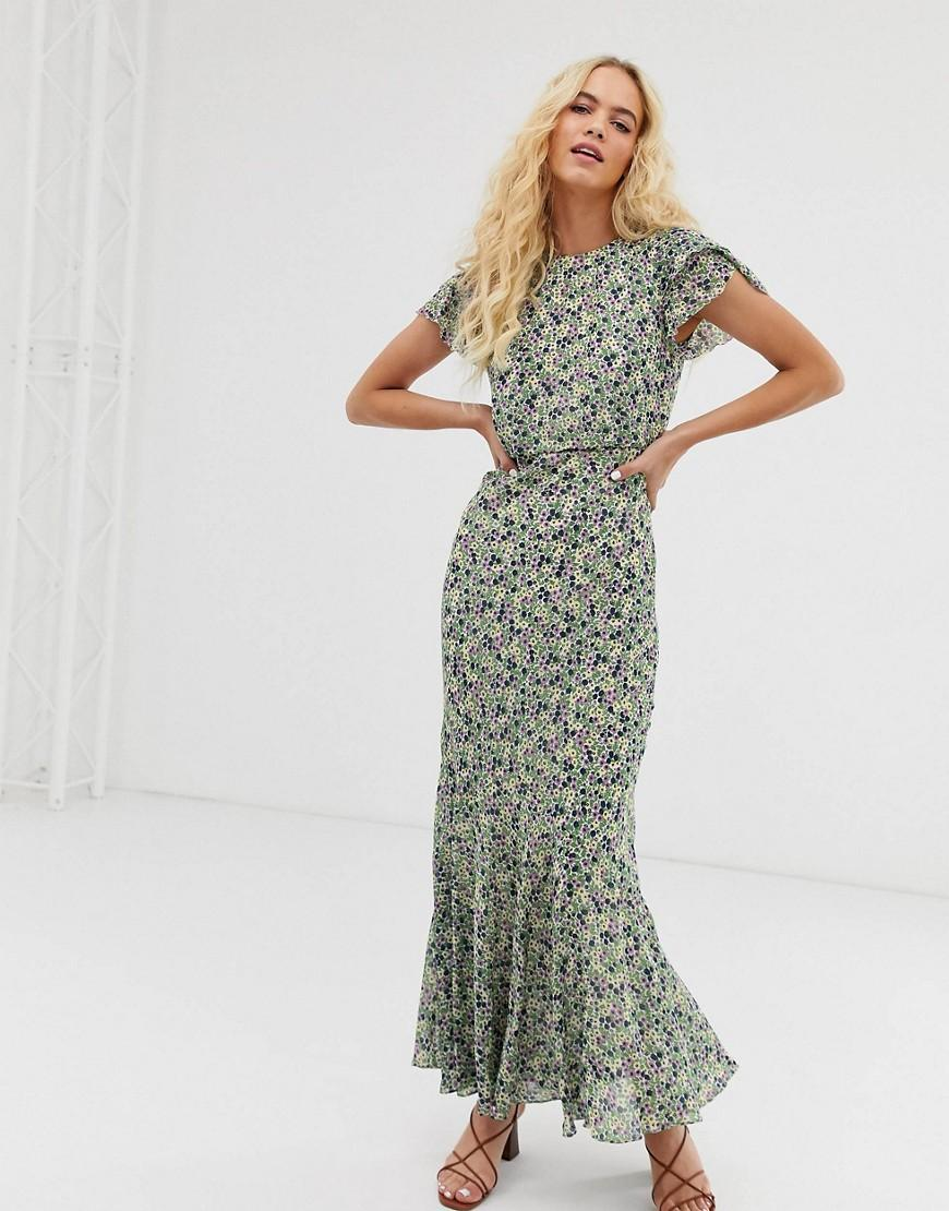 f3c4f5278864f Other Stories. Women's Ruffled Maxi Dress In Green Floral Print