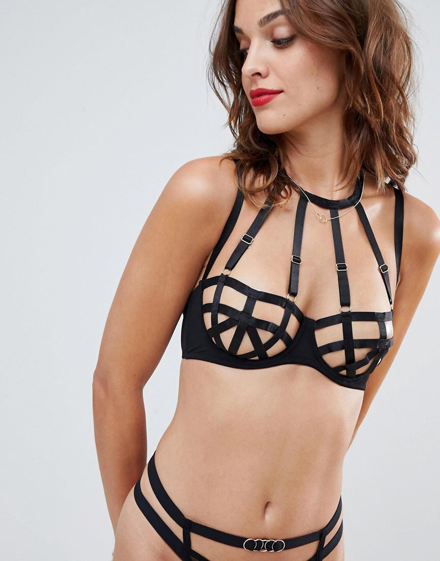 3565c6d958 Bluebella Petra Straping Detail Underwire Non Padded Bra in Black - Lyst