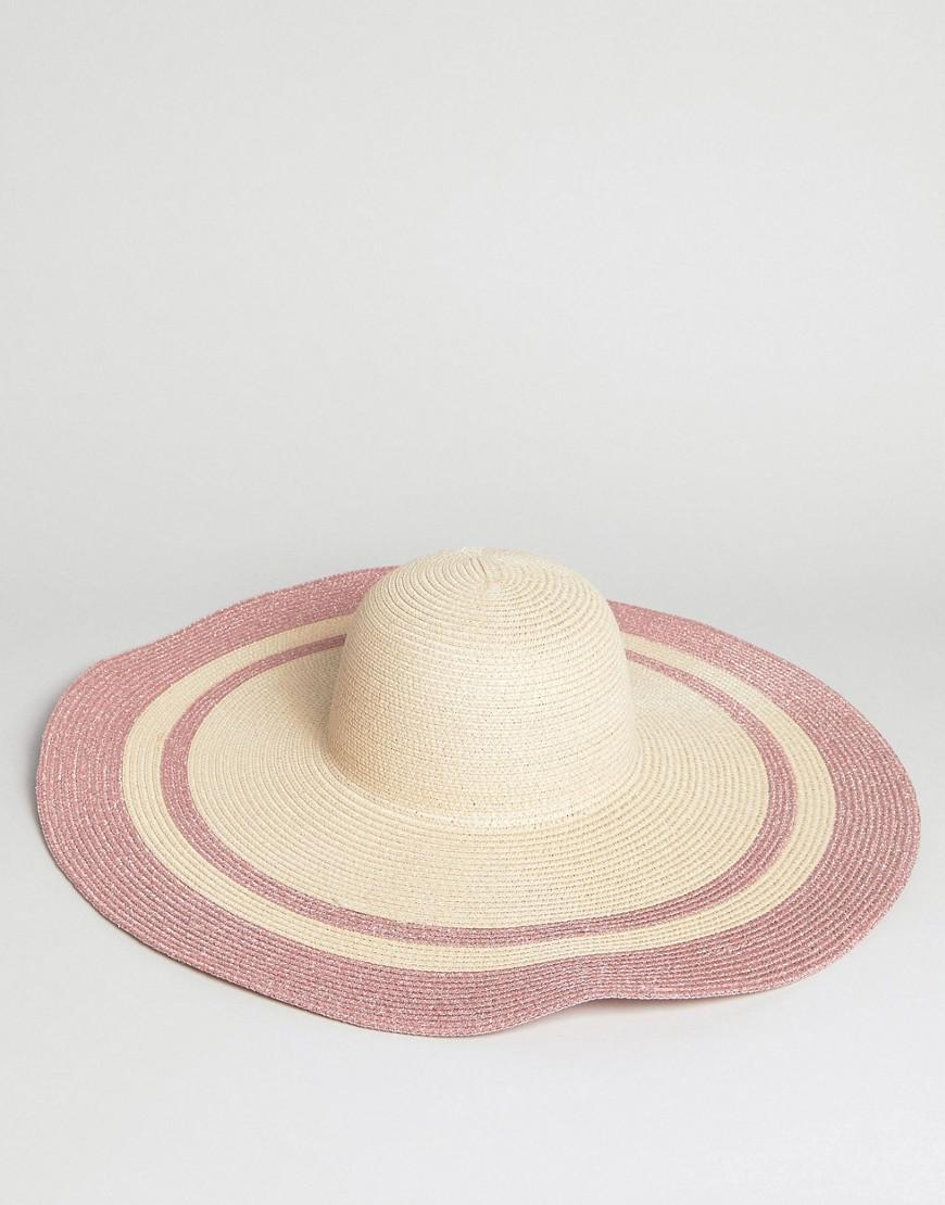f55dff45a0f Lyst - ASOS Asos Straw Floppy Hat With Metallic Brim And Size Adjuster in  Natural