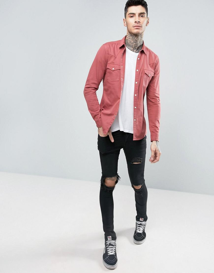 2b8c624cd81 Lyst - ASOS Skinny Western Denim Shirt In Berry Pink in Pink for Men