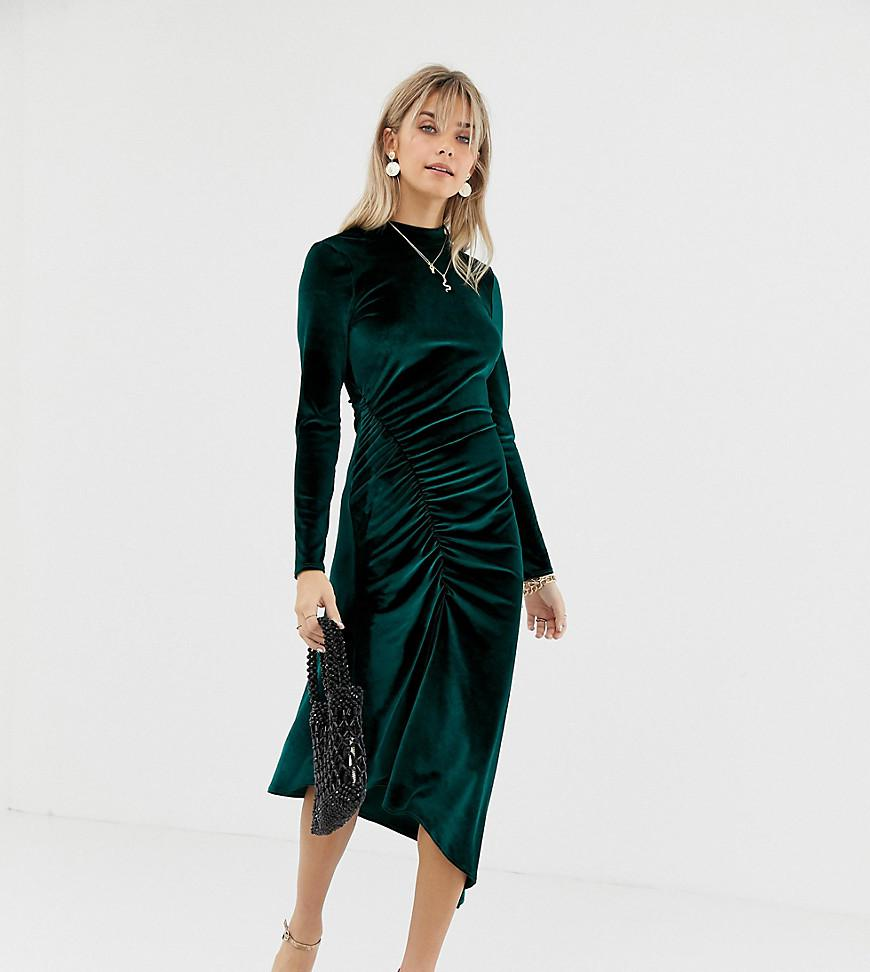 466b3cdc4eac Lyst - Reclaimed (vintage) Inspired Midi Velvet Dress With Ruched ...