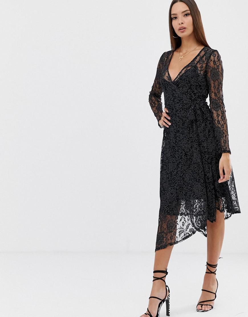 54a64959df Lyst - ASOS Polka Dot Print Lace Midi Wrap Dress in Black