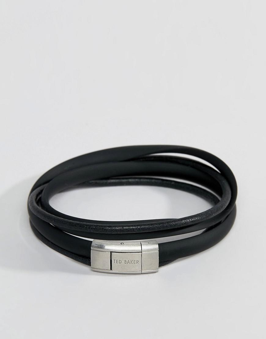 deb3504ef Ted Baker Mera Matt   Leather Bracelet In Black in Black for Men - Lyst