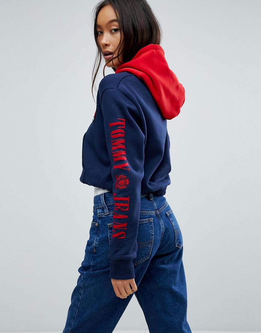 c6f50879 Tommy Hilfiger Tommy Jeans 90s Capsule Contrast Crop Hoodie in Blue ...
