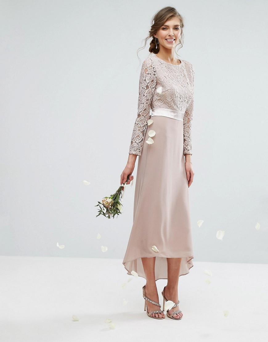 7271d7f6e349 Lyst - TFNC London Wedding Lace Midi Dress With Bow Back in Pink - Save 10%