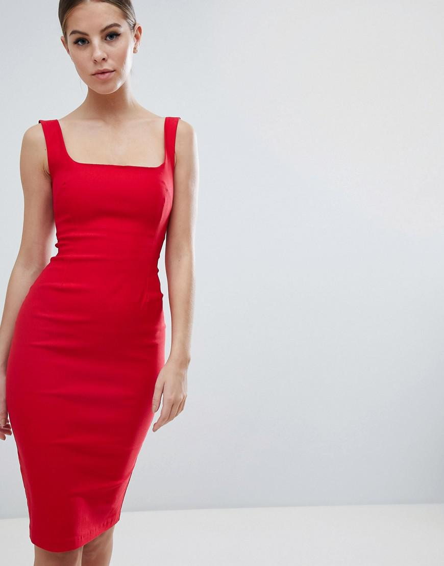 f8ee102c64 Vesper Square Neck Pencil Dress In Red in Red - Lyst