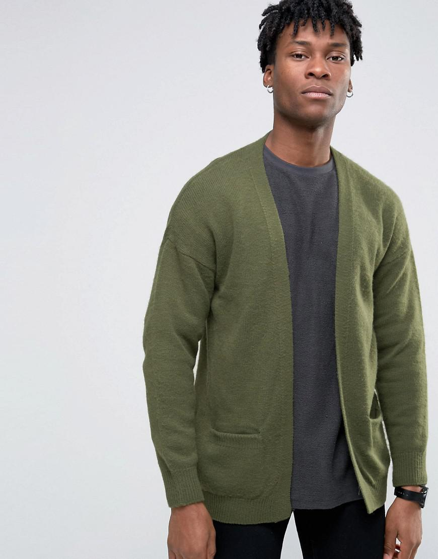 Asos Longline Cardigan In Brushed Yarn in Green for Men | Lyst