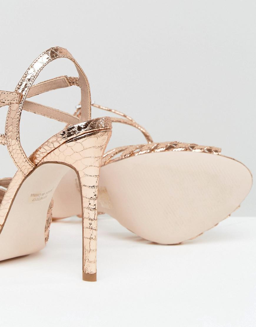 75fd0cf2fa8 Lyst - ASOS Honeypie Heeled Sandals in Metallic