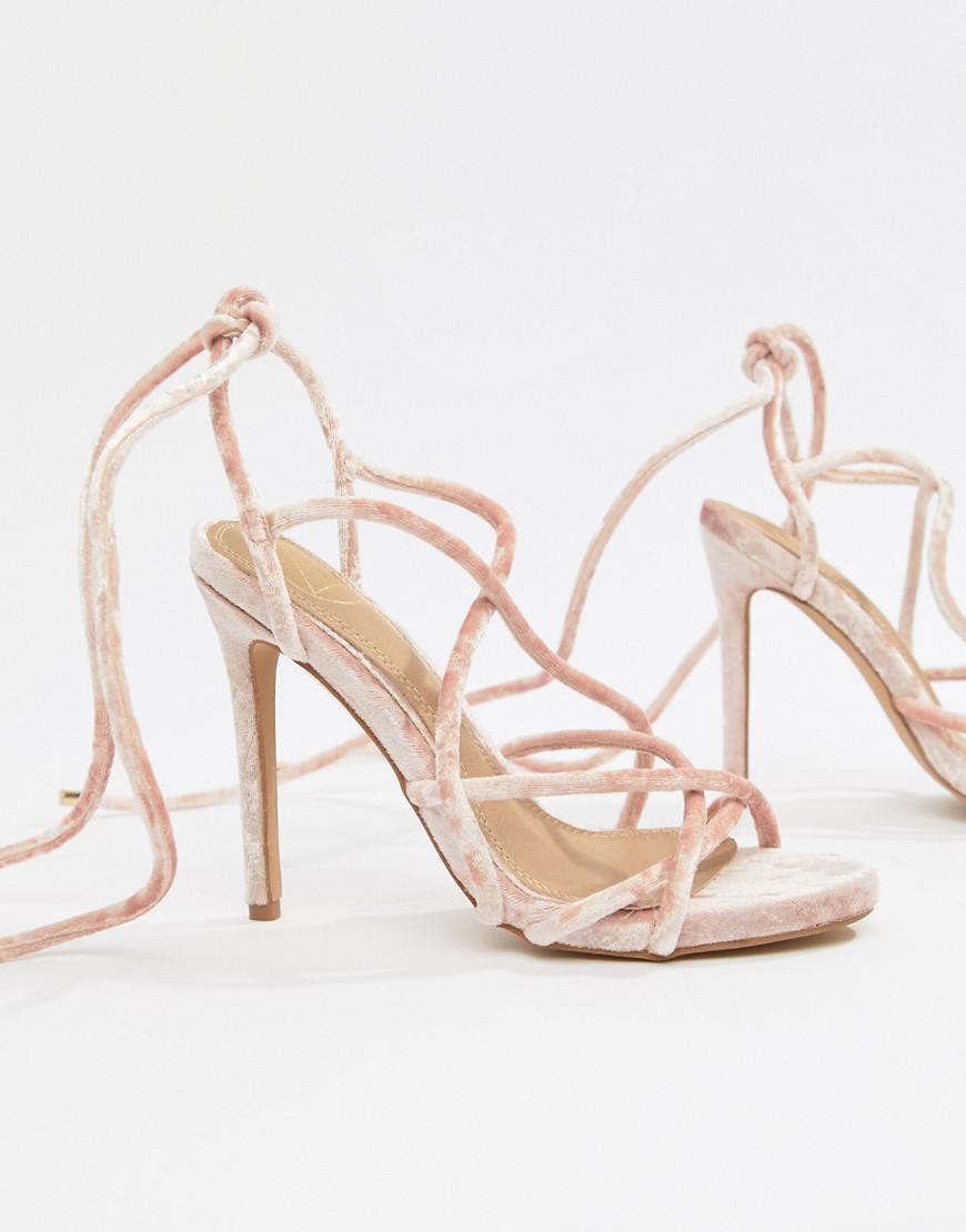 1fd32b9672e1 Missguided Velvet Gladiator Sandals in Pink - Lyst
