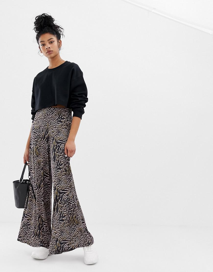 5c07261384bd23 Lyst - ASOS Wide Leg Pants In Abstract Animal Print