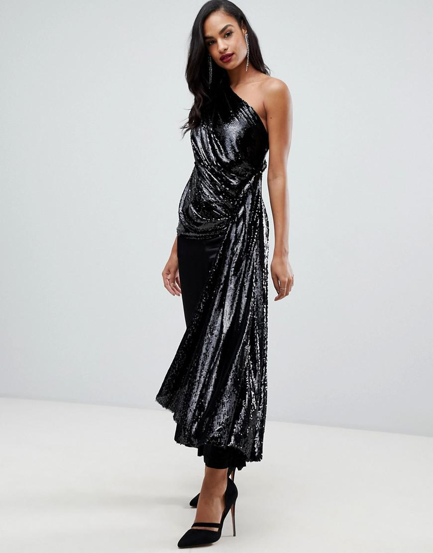 ab57ca25fdb9cc Lyst - ASOS One Shoulder Drape Side Top In Sequin in Black
