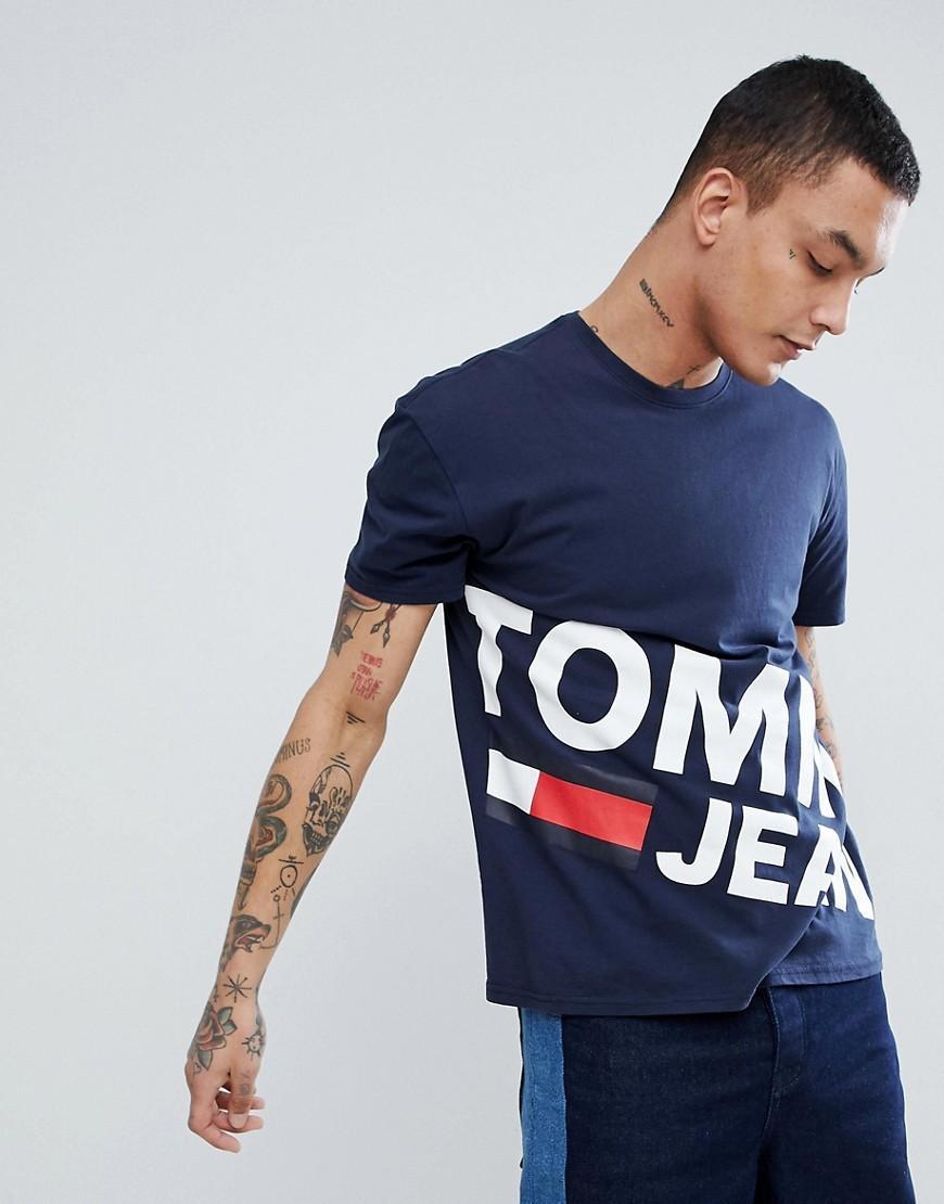 2eb54298 Tommy Hilfiger. Men's Blue Flag Large Diagonal Flag Logo Organic Cotton T- shirt ...