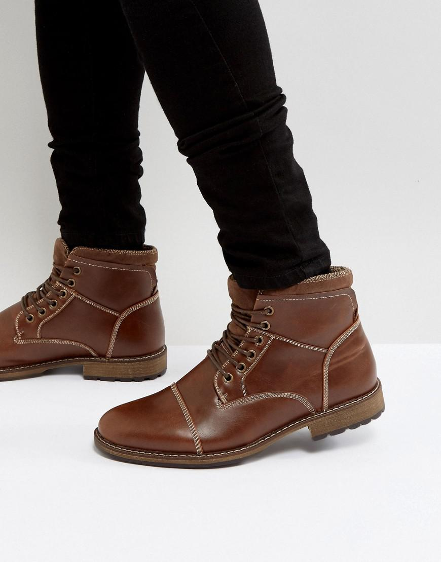 New Look. Men's Military Lace Up Boots In Brown