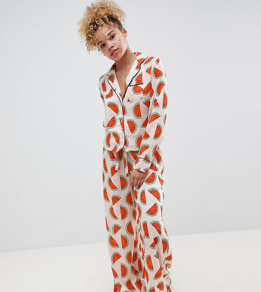 ASOS. Women s Red Asos Design Petite Watermelon Traditional 100% Modal Long  Leg Pajama Set 4094e614d