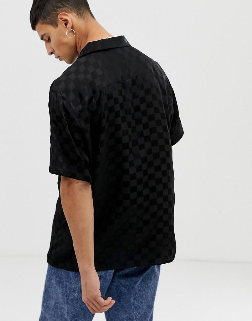 f3b00a2454e Lyst - Collusion Checkerboard Revere Shirt In Black in Black for Men