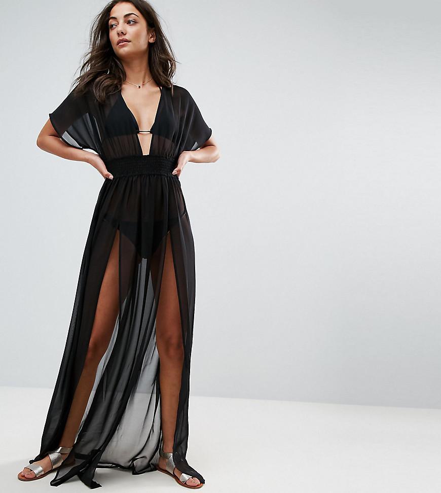 cc3f380408e ASOS. Women s Black Asos Design Tall Shirred Waist Maxi Chiffon Beach Kaftan