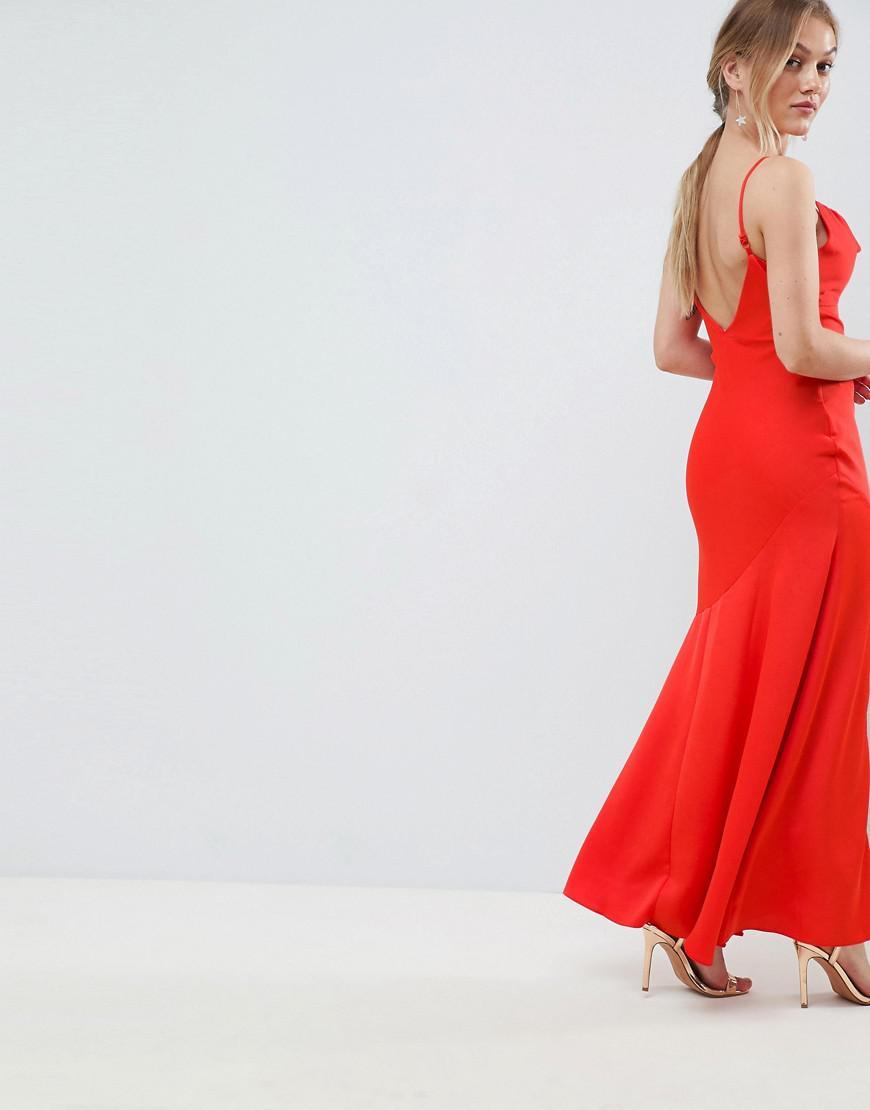 cd9038ce336e9 ASOS Asos Design Petite Bias Cut Satin Slip Maxi Dress With Drape Neck in  Orange - Lyst