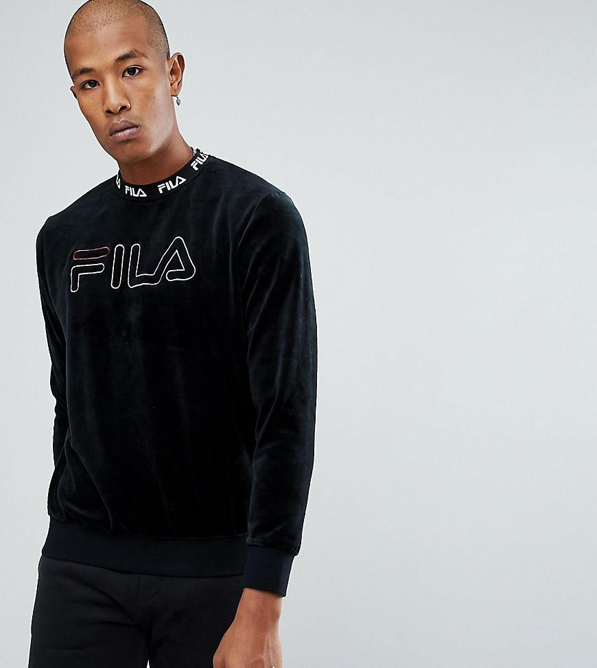6075fa9791b4 Fila Black Line Velour Sweatshirt With Embroidered Logo in Black for ...
