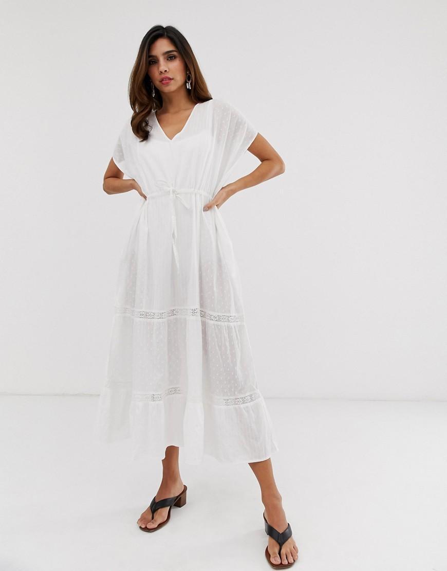 b5569c81014 Vila Embroidered Cotton Kaftan Dress in White - Lyst