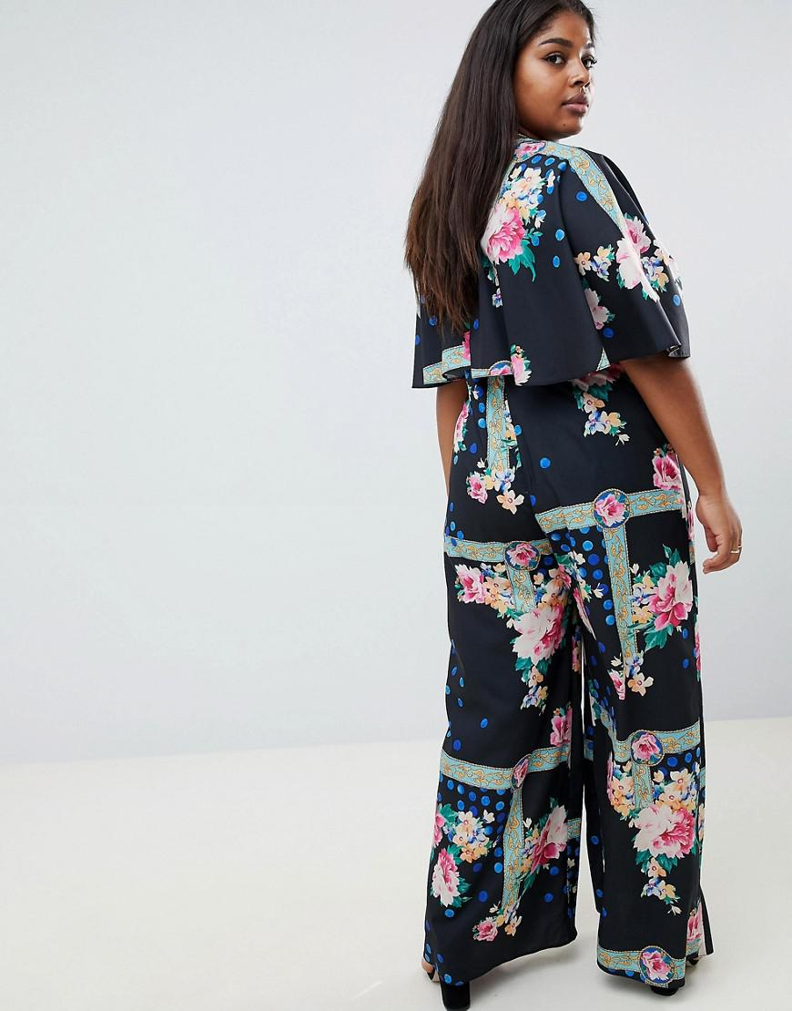 a4557b3056a4 Lyst - ASOS Asos Design Curve Jumpsuit With Overlay And Wide Leg In Floral  Print in Blue