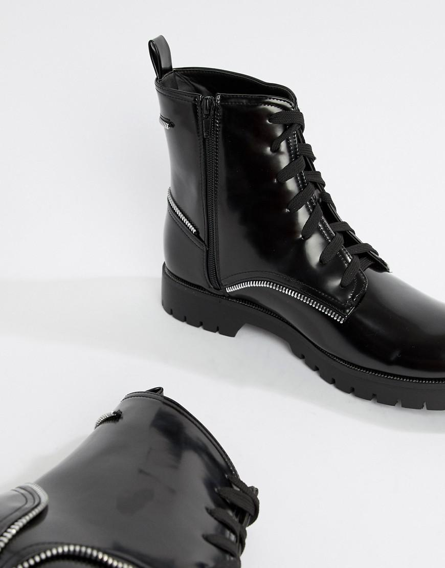 ddb8869b8b0 Lyst - Truffle Collection Zip Detail Lace Up Boot In Black in Black ...