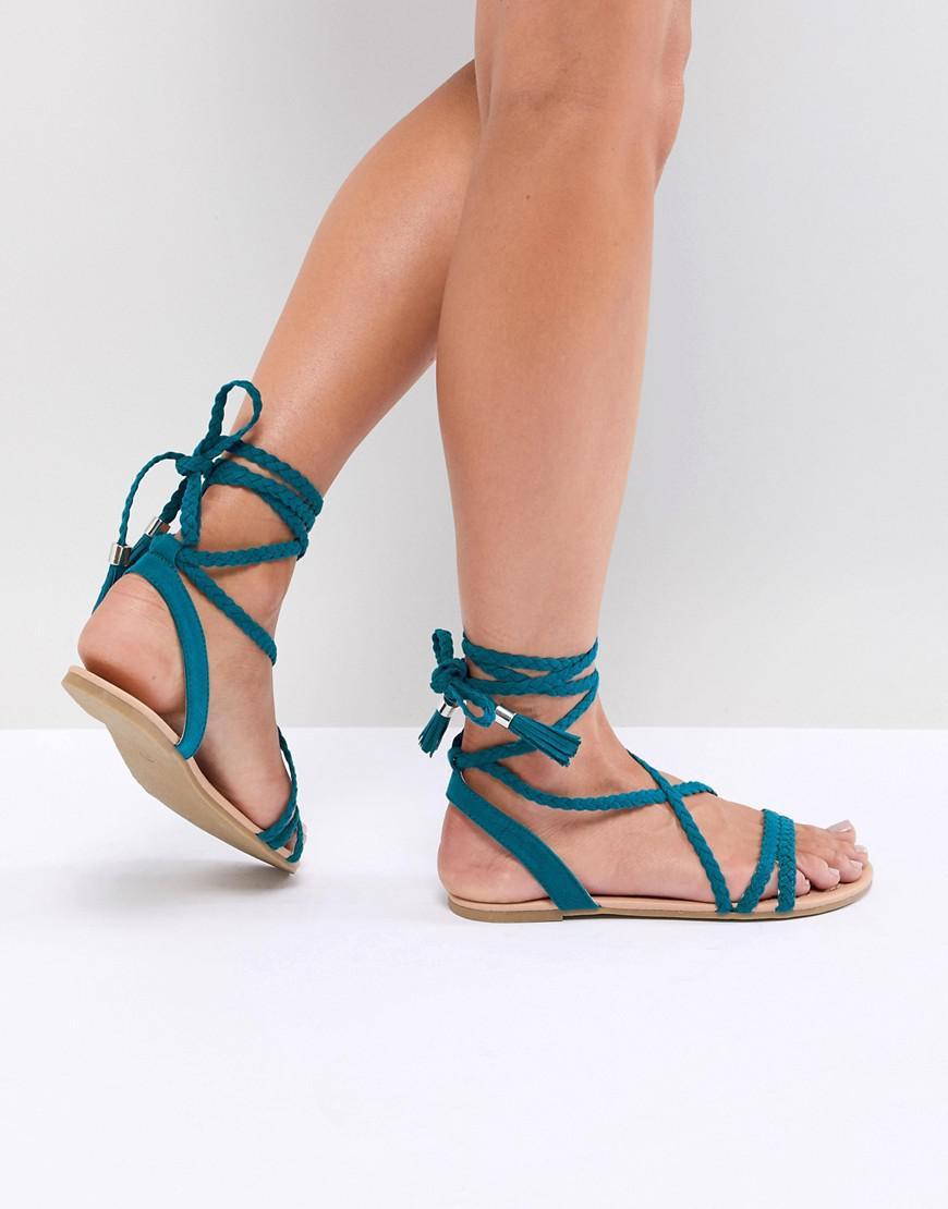 f00c6ed987d ASOS Fayla Plaited Tie Leg Flat Sandals in Blue - Lyst