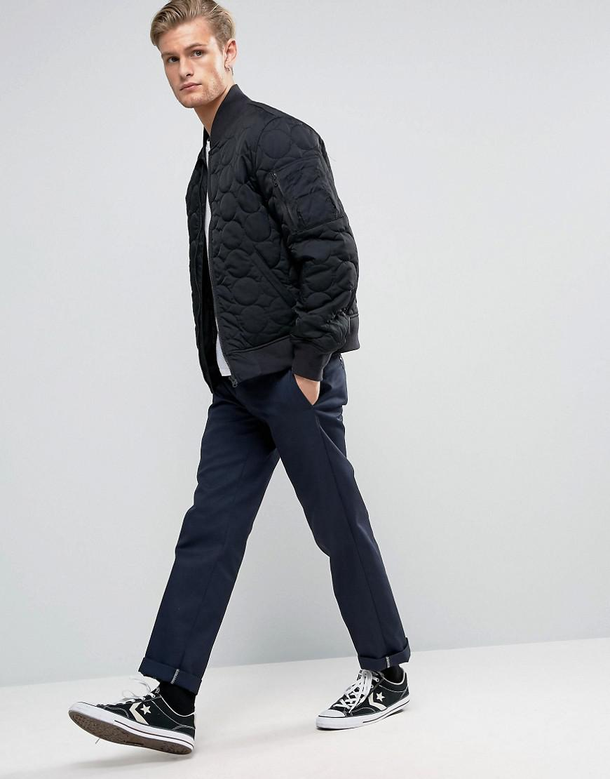 dcb0d150b1ced5 Lyst - Converse Quilted Bomber Jacket In Black 10003390-a01 in Black ...