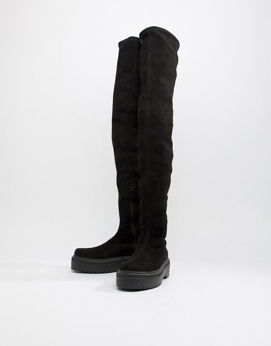 3fa78a9d29a Lyst - ASOS Kami Flat Chunky Thigh High Boots in Black
