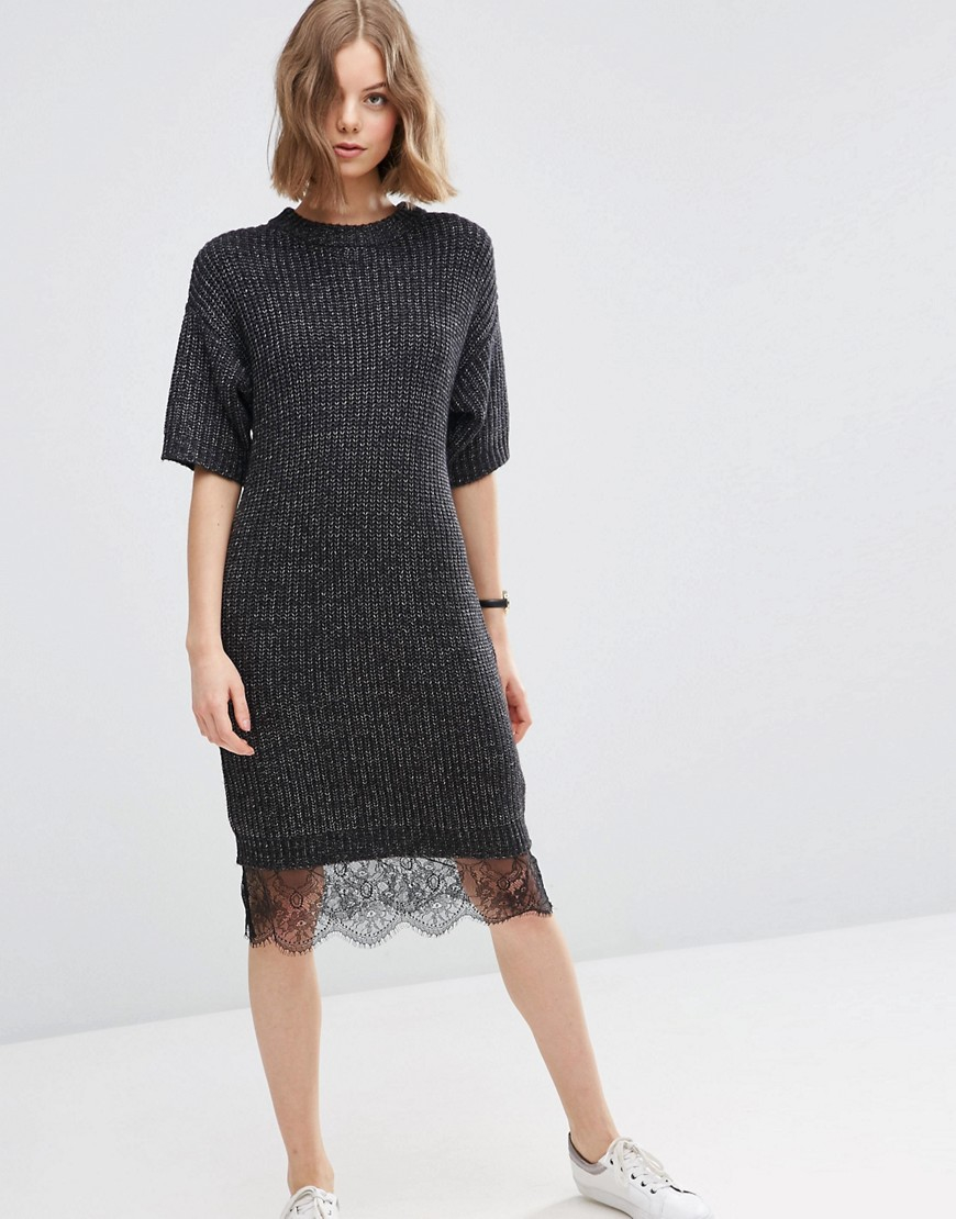 lyst asos jumper dress with lace hem in gray. Black Bedroom Furniture Sets. Home Design Ideas