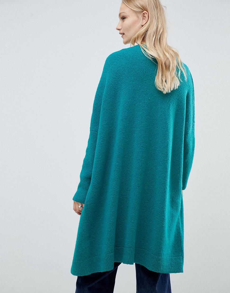 fac60a828 Lyst - Asos Design Eco Oversize Cardigan In Fluffy Yarn in Green
