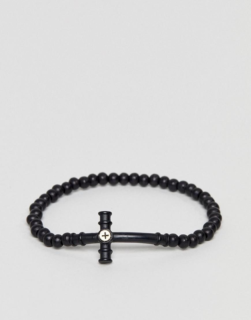 Icon Brand Men S Black Beaded Bracelet With Cross Pendant