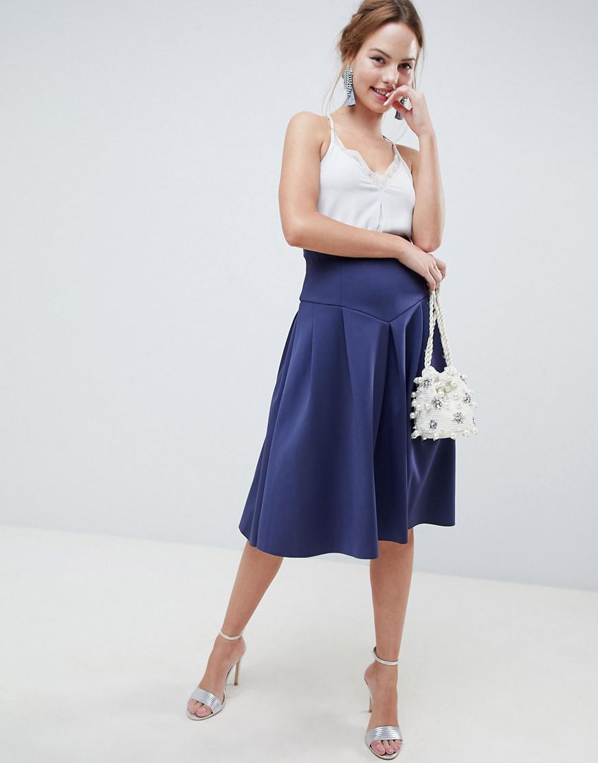 83ab00b23ffd Lyst - ASOS Seamed Skater Midi Skirt With Box Pleats in Blue