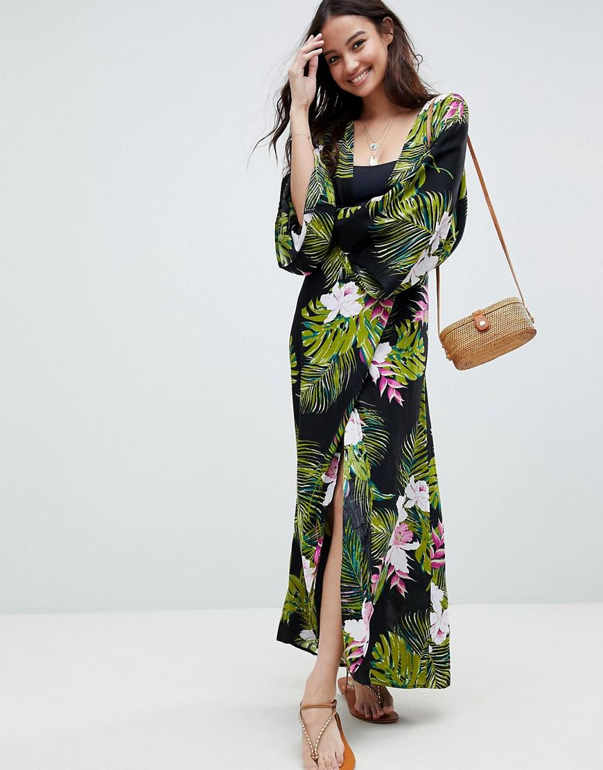 4788af577d ASOS - Green Dark Tropical Print Long Sleeve Plunge Beach Maxi Dress -  Lyst. View fullscreen