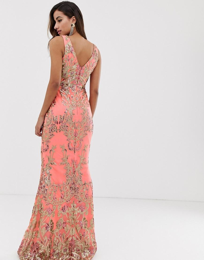 805618181003 Goddiva High Neck Maxi Embellished Sequin Dress In Coral With Gold Sequin  in Pink - Lyst