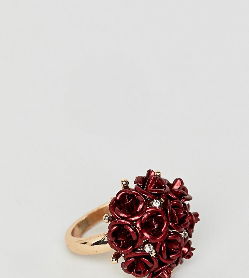 5746d41239f2 ALDO. Anillo de tendencia en metal con flores de de mujer de color rojo