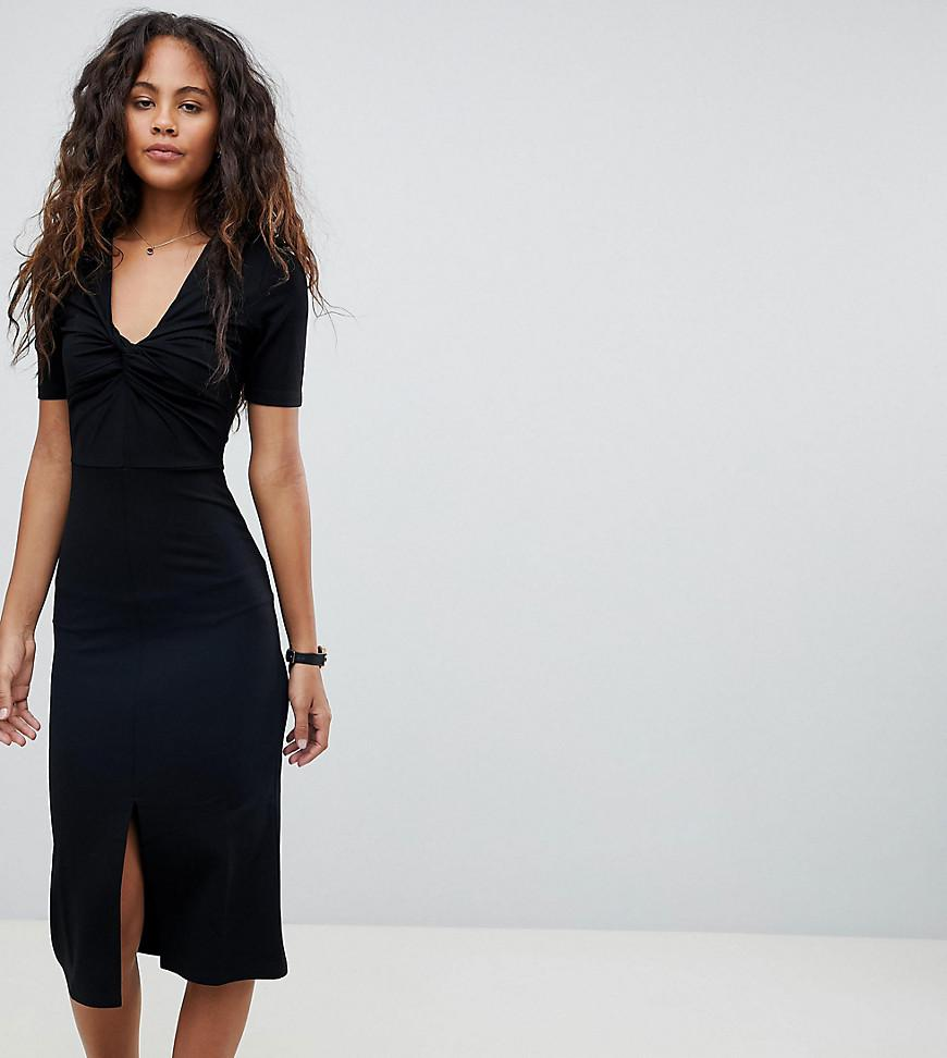ASOS DESIGN Tall knot detail midi dress with cut out side in rib - Black Asos Tall d3jVgUAKQ