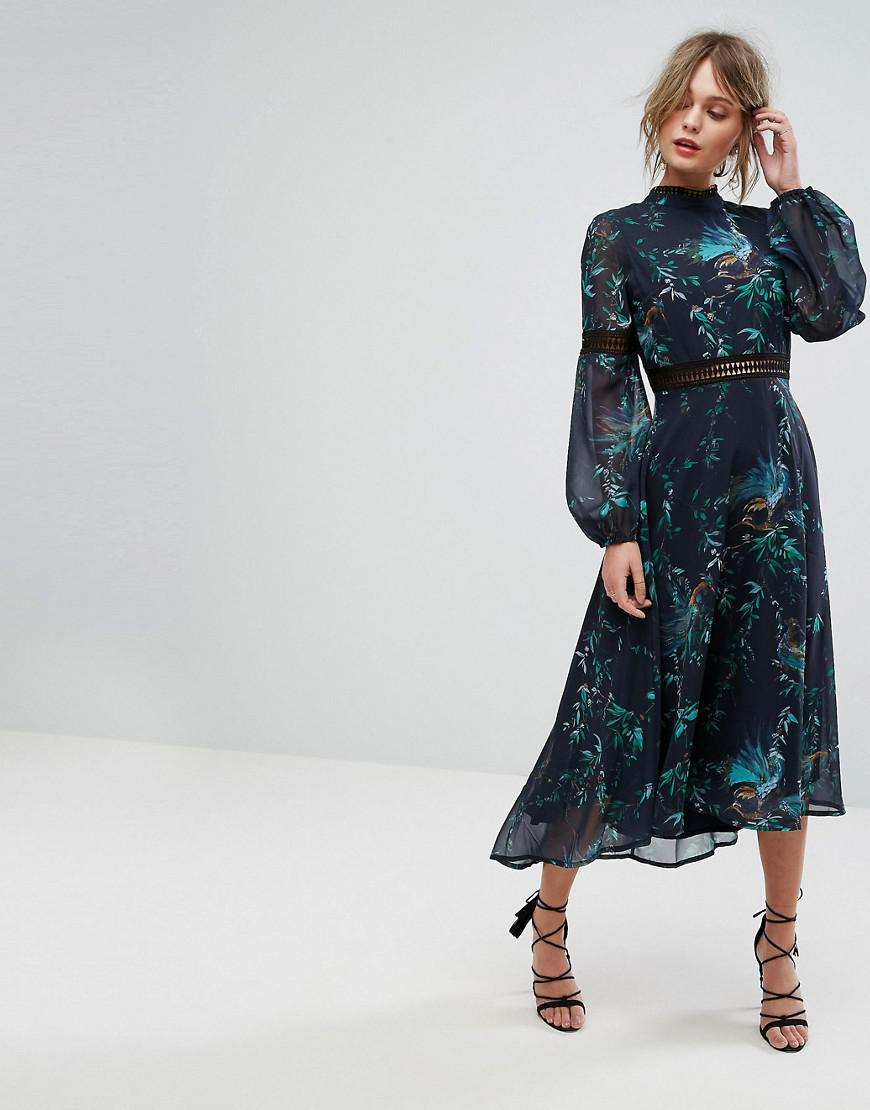 Hope And Ivy Hope Amp Ivy Printed Open Back Midi Dress With